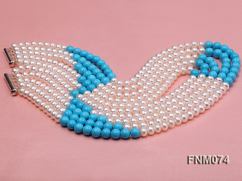 5 strand white freshwater pearl and bule round turquoise necklace big Image 3