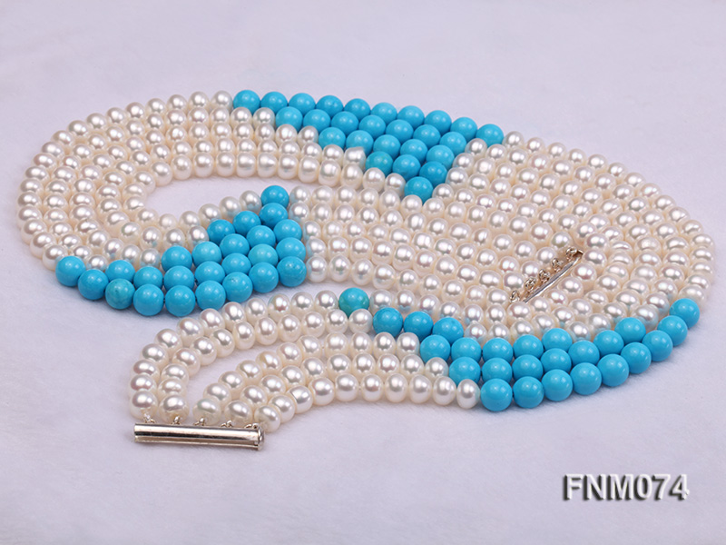 5 strand white freshwater pearl and bule round turquoise necklace big Image 4