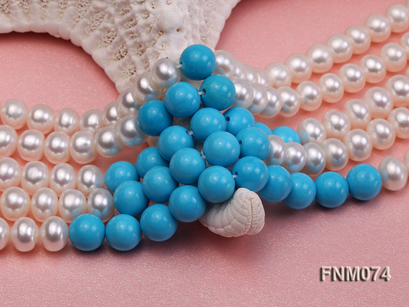 5 strand white freshwater pearl and bule round turquoise necklace big Image 5