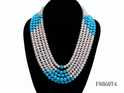 5 strand white freshwater pearl and bule round turquoise necklace FNM074 Image 1
