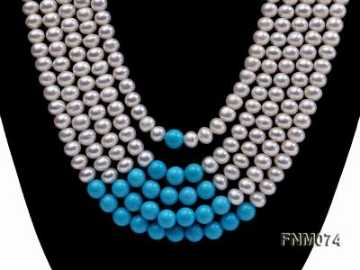 5 strand white freshwater pearl and bule round turquoise necklace FNM074 Image 2