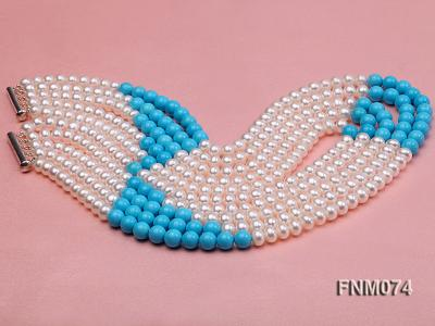 5 strand white freshwater pearl and bule round turquoise necklace FNM074 Image 3