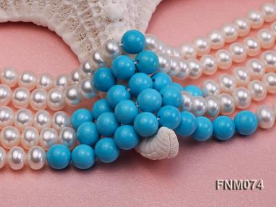 5 strand white freshwater pearl and bule round turquoise necklace FNM074 Image 5