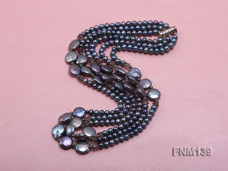 Three-strand Black Round and Button Freshwater Pearl Necklace big Image 2