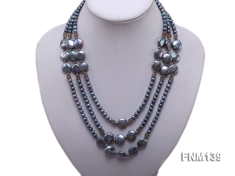 Three-strand Black Round and Button Freshwater Pearl Necklace big Image 5