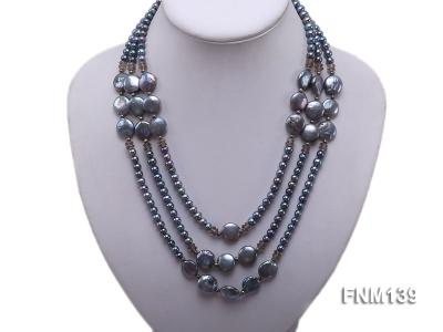 Three-strand Black Round and Button Freshwater Pearl Necklace FNM139 Image 5
