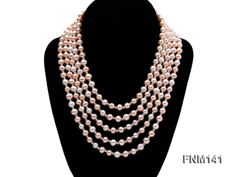 5 strand white and pink round freshwater pearl necklace big Image 1