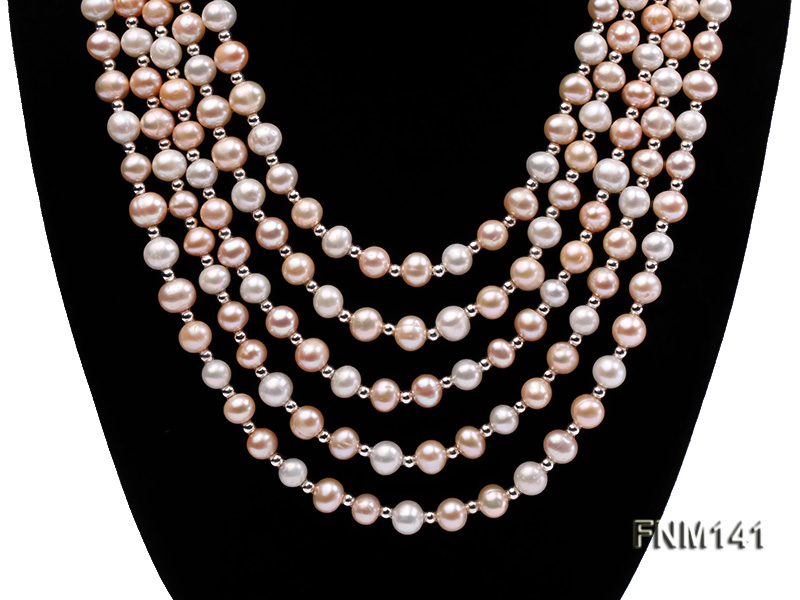 5 strand white and pink round freshwater pearl necklace big Image 2