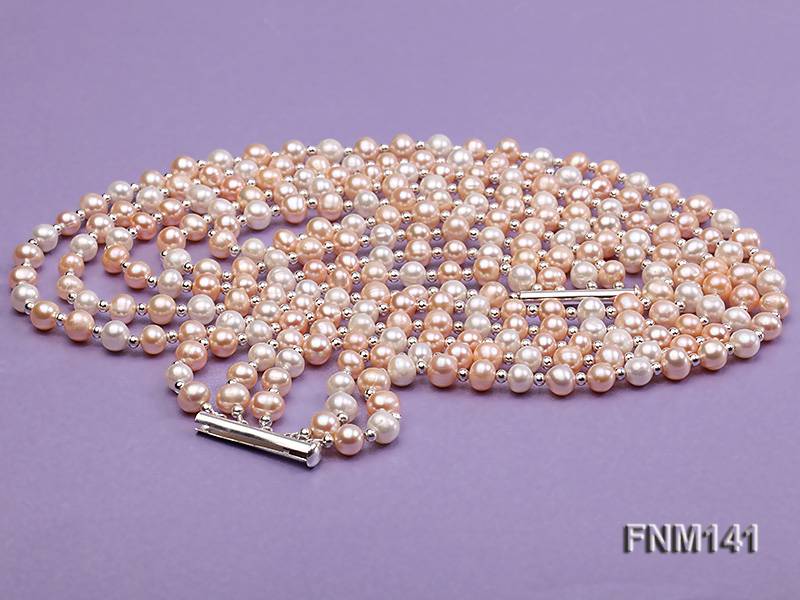 5 strand white and pink round freshwater pearl necklace big Image 4