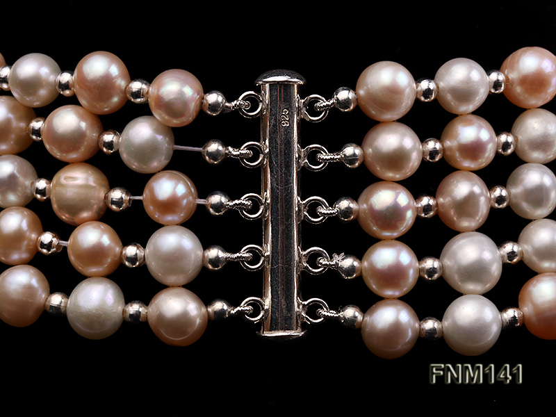 5 strand white and pink round freshwater pearl necklace big Image 6