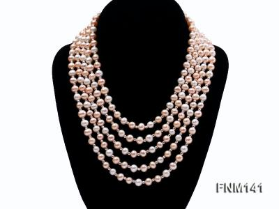 5 strand white and pink round freshwater pearl necklace FNM141 Image 1