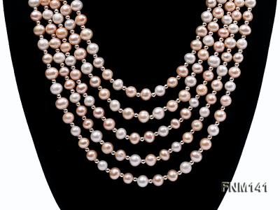 5 strand white and pink round freshwater pearl necklace FNM141 Image 2