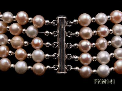 5 strand white and pink round freshwater pearl necklace FNM141 Image 6