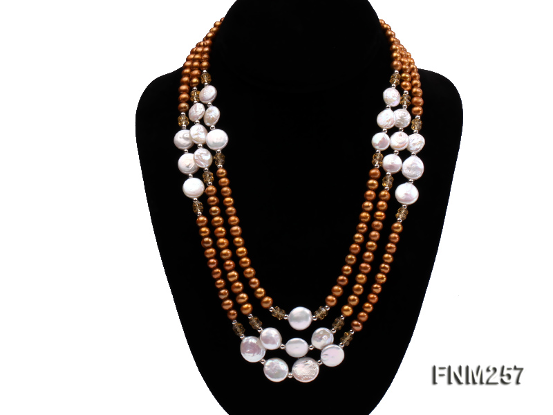 3 strand coffee and white freshwater pearl necklace with sterling sliver clasp big Image 1