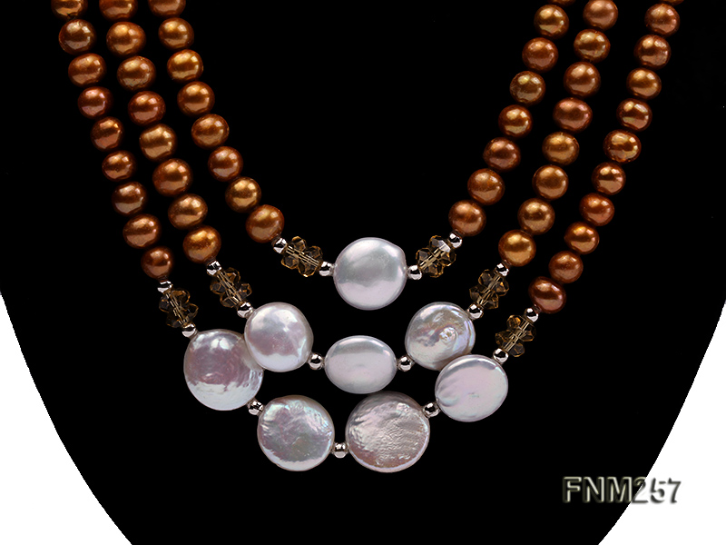 3 strand coffee and white freshwater pearl necklace with sterling sliver clasp big Image 2