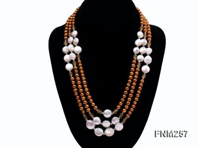 3 strand coffee and white freshwater pearl necklace with sterling sliver clasp FNM257 Image 1