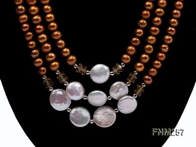 3 strand coffee and white freshwater pearl necklace with sterling sliver clasp FNM257 Image 2