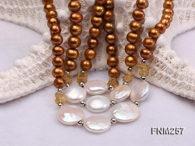 3 strand coffee and white freshwater pearl necklace with sterling sliver clasp FNM257 Image 5