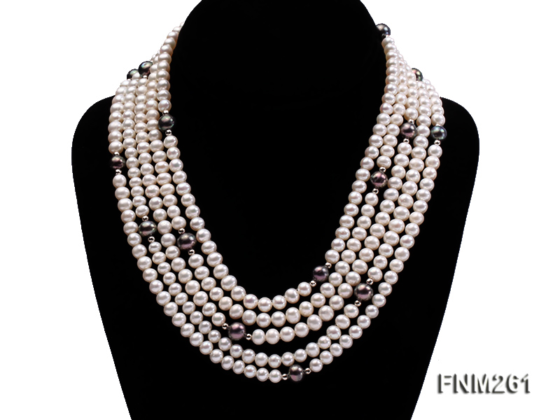 5 strand white and black freshwater pearl necklace big Image 1