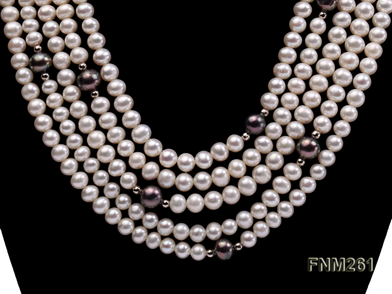 5 strand white and black freshwater pearl necklace big Image 2