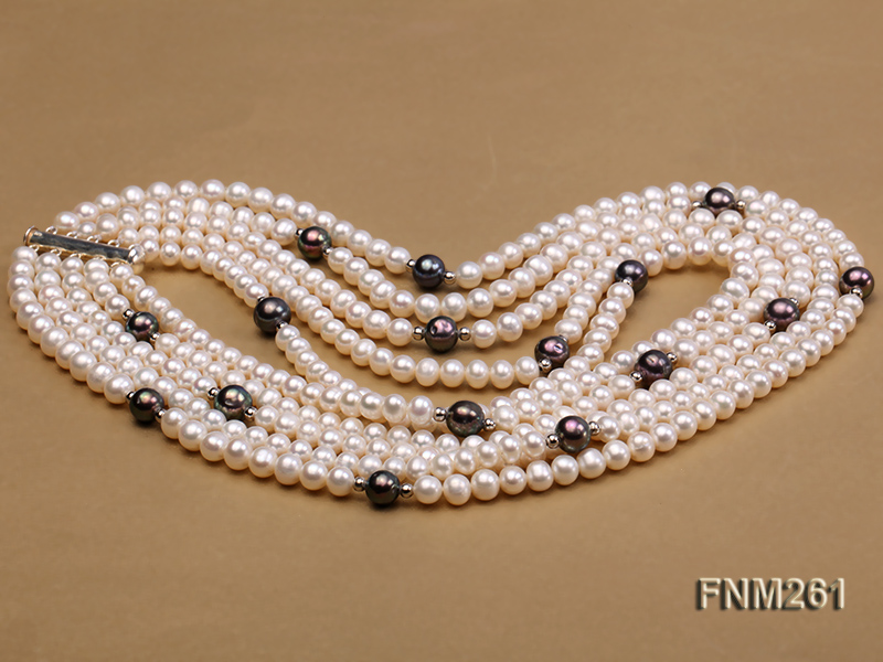 5 strand white and black freshwater pearl necklace big Image 3