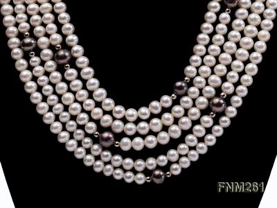 5 strand white and black freshwater pearl necklace FNM261 Image 2