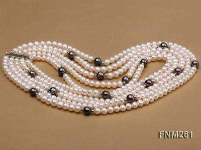 5 strand white and black freshwater pearl necklace FNM261 Image 3