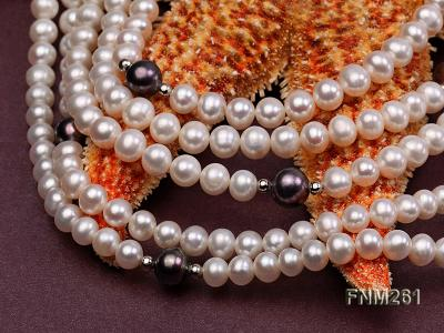 5 strand white and black freshwater pearl necklace FNM261 Image 5