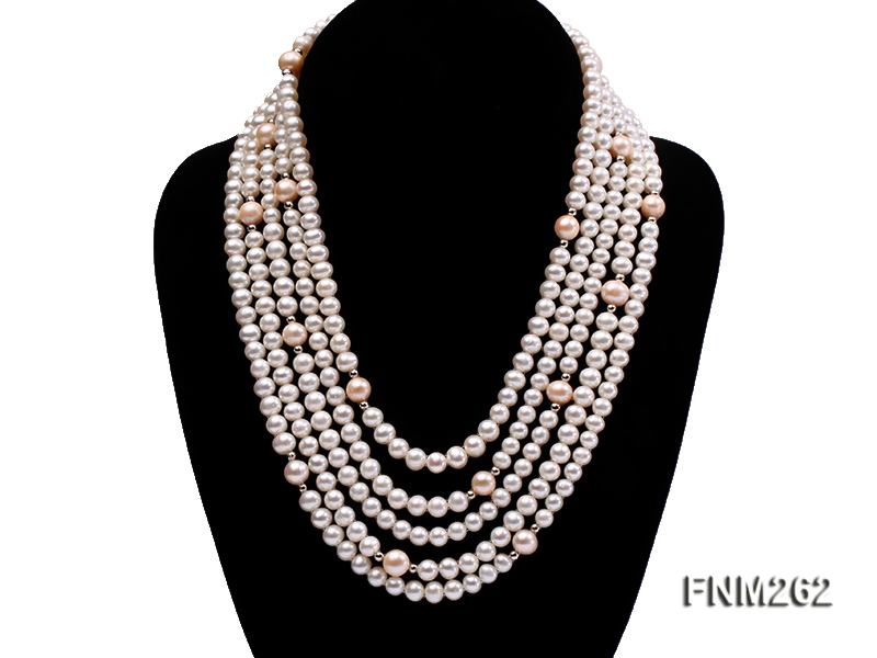Five-Strand White and Pink Freshwater Pearl Necklace with Sterling Sliver Clasp big Image 1