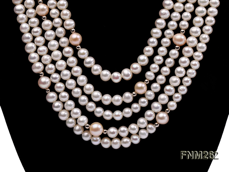Five-Strand White and Pink Freshwater Pearl Necklace with Sterling Sliver Clasp big Image 2