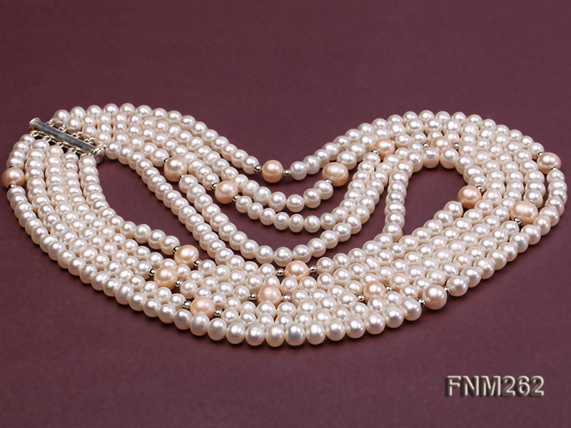 Five-Strand White and Pink Freshwater Pearl Necklace with Sterling Sliver Clasp big Image 3