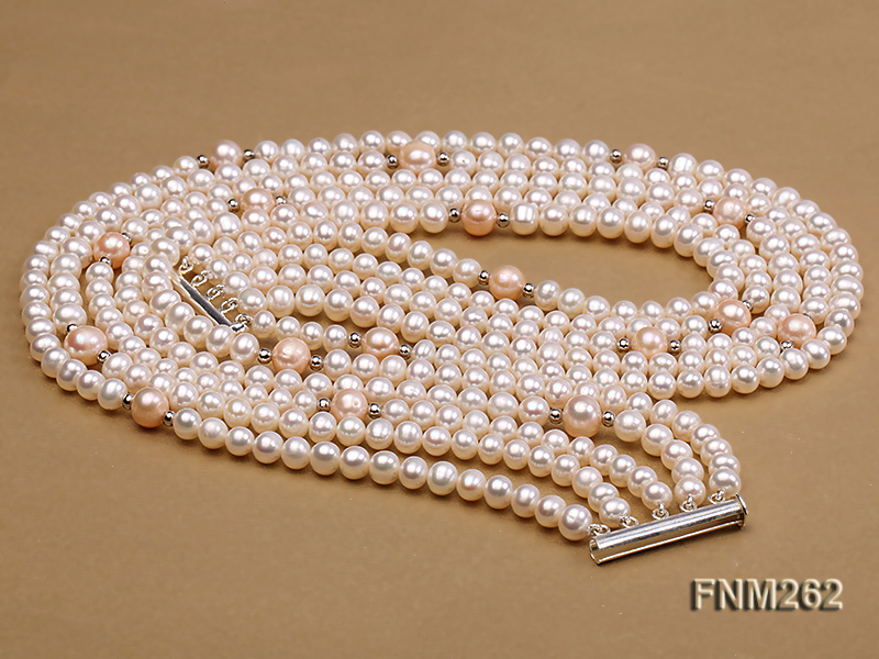 Five-Strand White and Pink Freshwater Pearl Necklace with Sterling Sliver Clasp big Image 5