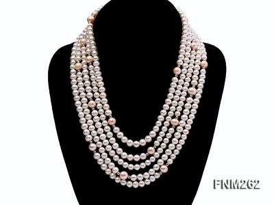 Five-Strand White and Pink Freshwater Pearl Necklace with Sterling Sliver Clasp FNM262 Image 1