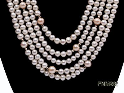 Five-Strand White and Pink Freshwater Pearl Necklace with Sterling Sliver Clasp FNM262 Image 2