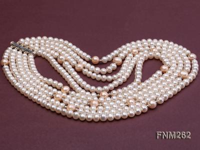 Five-Strand White and Pink Freshwater Pearl Necklace with Sterling Sliver Clasp FNM262 Image 3