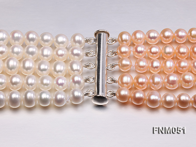 5 strand white and pink freshwater pearl necklace with sterling sliver clasp big Image 2