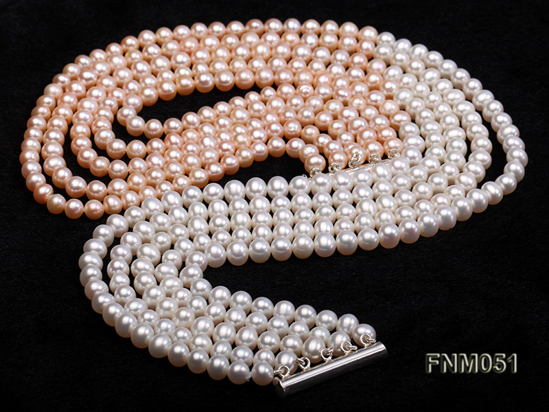 5 strand white and pink freshwater pearl necklace with sterling sliver clasp big Image 3