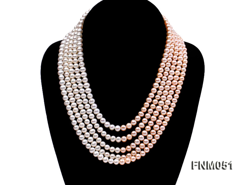 5 strand white and pink freshwater pearl necklace with sterling sliver clasp big Image 1