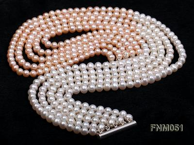 5 strand white and pink freshwater pearl necklace with sterling sliver clasp FNM051 Image 3