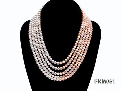 5 strand white and pink freshwater pearl necklace with sterling sliver clasp FNM051 Image 1