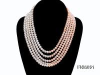 5 strand white and pink freshwater pearl necklace with sterling sliver clasp FNM051