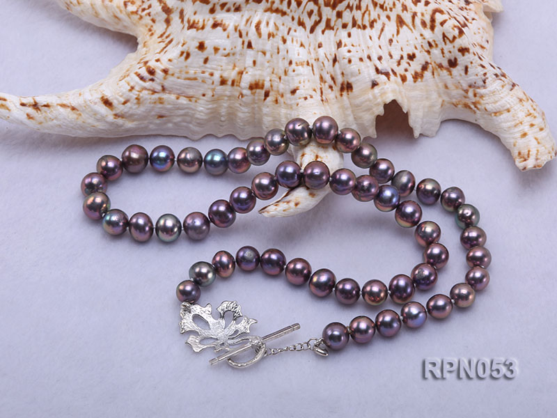 7.5-8.5mm Black Round Freshwater Pearl Necklace with Sterling Silver Leaf-shape Clasp big Image 2