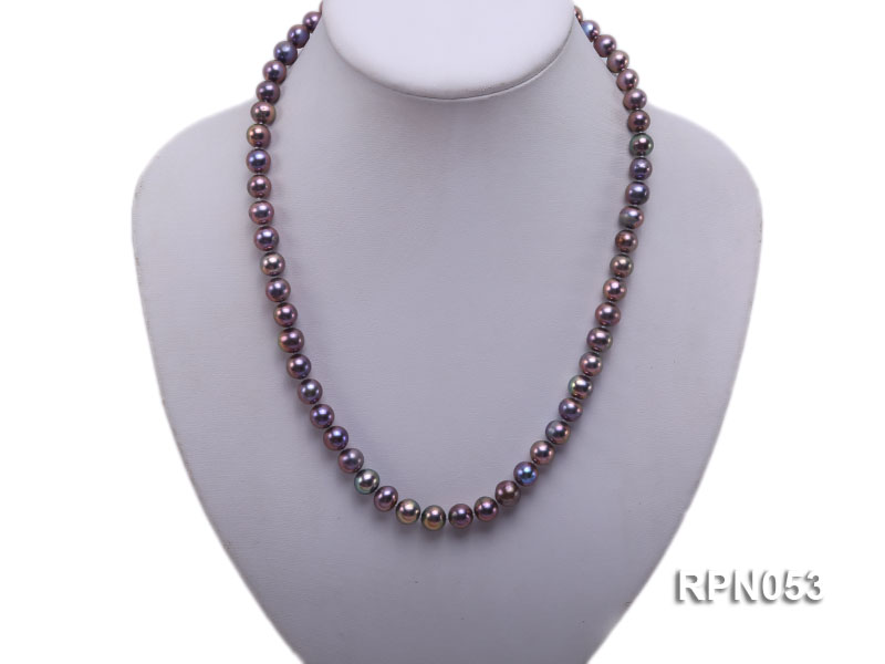 7.5-8.5mm Black Round Freshwater Pearl Necklace with Sterling Silver Leaf-shape Clasp big Image 5