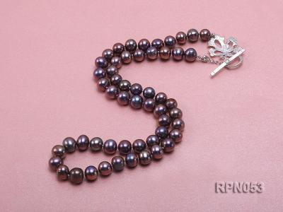 7.5-8.5mm Black Round Freshwater Pearl Necklace with Sterling Silver Leaf-shape Clasp RPN053 Image 4