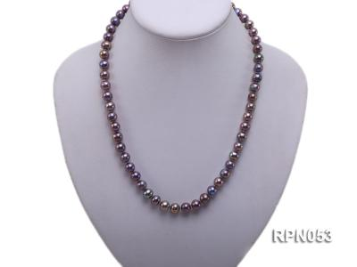 7.5-8.5mm Black Round Freshwater Pearl Necklace with Sterling Silver Leaf-shape Clasp RPN053 Image 5