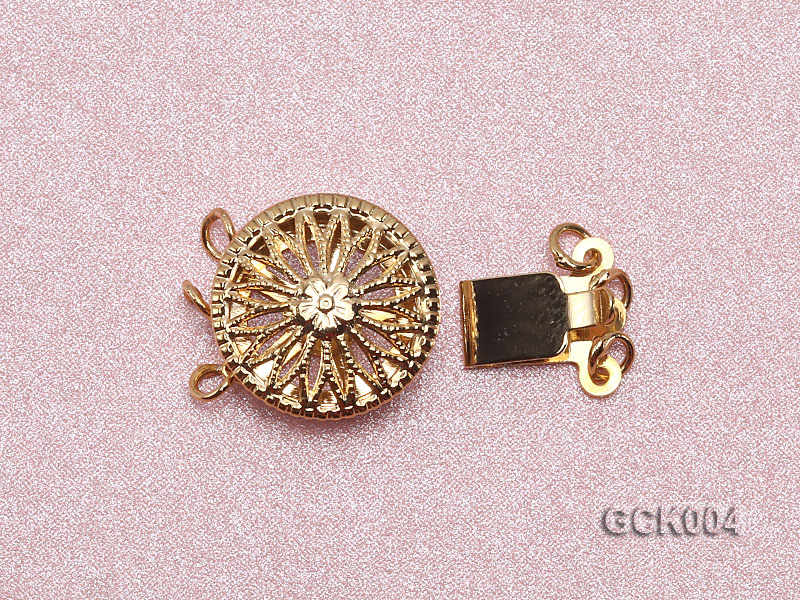 12.5mm Three-strand Flower-shaped Gilded Clasp big Image 3