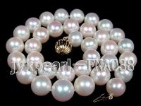 12-13mm natural white freshwater pearl necklace 14k gold clasp FNA038