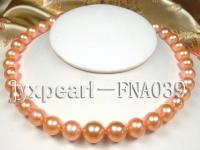 AAAAA++ pink natural 11.5-13.5mm round freshwarter pearl necklace 14k gold clasp FNA039