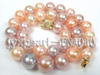 natural 11.5-14.4mm pink round freshwater pearl necklace with 14k gold clasp FNA040