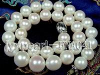 Super necklace AAAAA++ 12-14mm white round natural freshwater pearl FNA041
